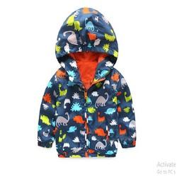 áo khoác gió cho bé trai khủng long lót cam