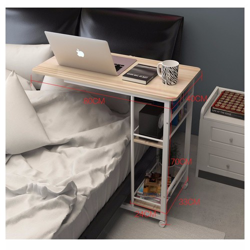Bàn làm việc có 2 ngăn để đồ và bánh xe- bàn cao cấp