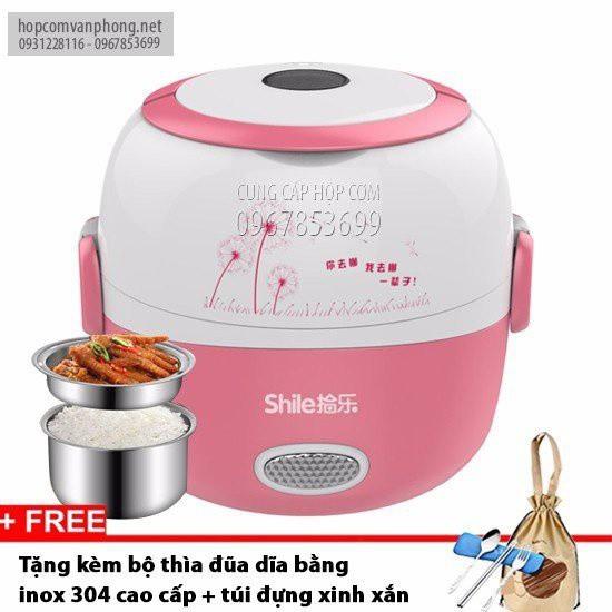 Hộp cơm cắm điện hâm nóng 2 ngăn inox shile 10
