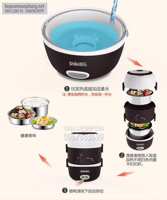 Hộp cơm cắm điện hâm nóng 2 ngăn inox shile 22