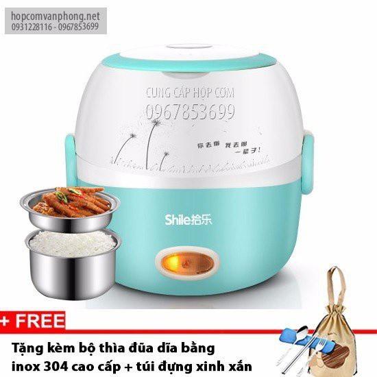 Hộp cơm cắm điện hâm nóng 2 ngăn inox shile 19