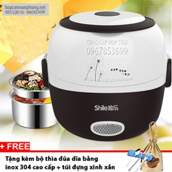 Hộp cơm cắm điện hâm nóng 2 ngăn inox shile
