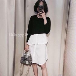 Đầm suông phối màu đen trắng phong cách Hàn quốc