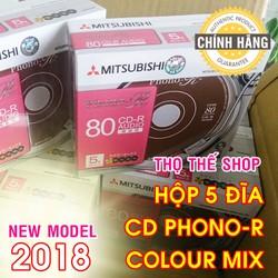 Hộp 5 đĩa CD trắng MITSUBISHI Phono NEW MODEL 2018 - Chuyên ghi nhạc