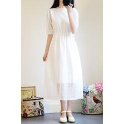 Váy trắng dài hàn quốc hàng nhập khẩu chất lượng cao