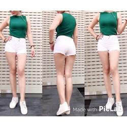 Quần đùi nữ jeans kaki màu trắng
