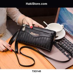 Túi ví nữ đeo chéo nhỏ gọn sọc viền thanh lịch màu đen