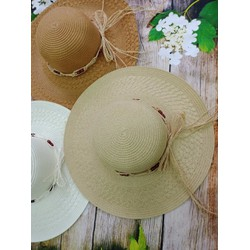Mũ cói vành rộng đai gỗ