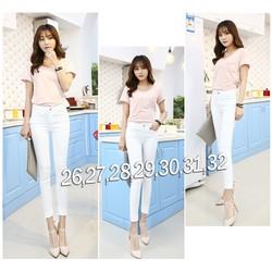 Quần jean trắng lưng cao 1 nút đơn giản