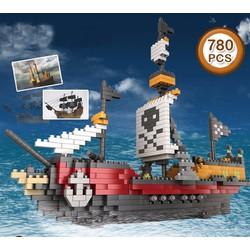 Tàu cướp biển hoạt hình đảo hải tặc đồ chơi lắp ráp xây dựng