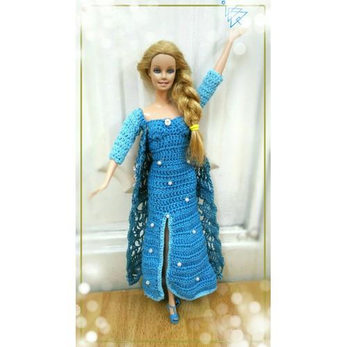 Đầm len Babie fairytale - nữ hoàng băng giá Elsa kèm vương miện
