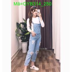 Quần yếm jean dài rách màu xanh bạc cá tính phong cách QYB314