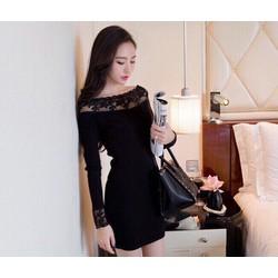 Đầm body bẹt vai phối ren hoa cực xinh