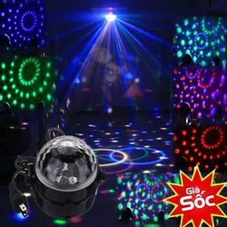 Đèn LED quả cầu xoay pha lê 7 màu nháy theo nhạc