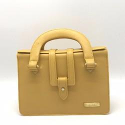 Túi xách tay Da bò thật cao cấp Polevan màu vàng SB04