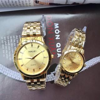 Đồng hồ đôi Halei chính hãng 2v dây vàng - Đồng hồ đôi thumbnail