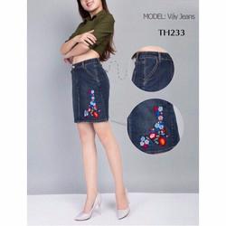 Chân váy jean bông thêu