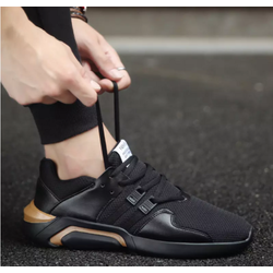 giày thể thao nam bề mặt vải lưới cực êm màu đen vàng