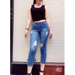 Quần jeans thun 9 tấc nữ rách cao cấp