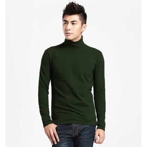 Áo thun cổ lọ tay dài nam màu xanh rêu - XR01
