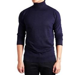 Áo thun cổ lọ tay dài nam màu xanh đen - XD01