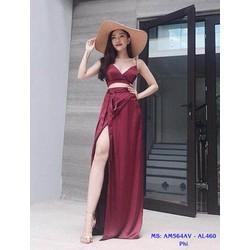 Set Áo Kiểu Hai Dây Váy Dài Xéo Tà Quyến Rũ