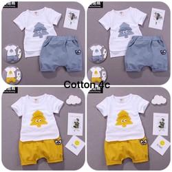PPa - Combo 2 bộ bé trai - gái mặc nhà 1 vàng - 1 xanh