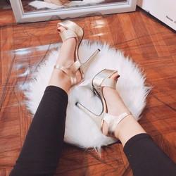 Giày cao gót hở mũi gót nhọn 11cm quai ngang