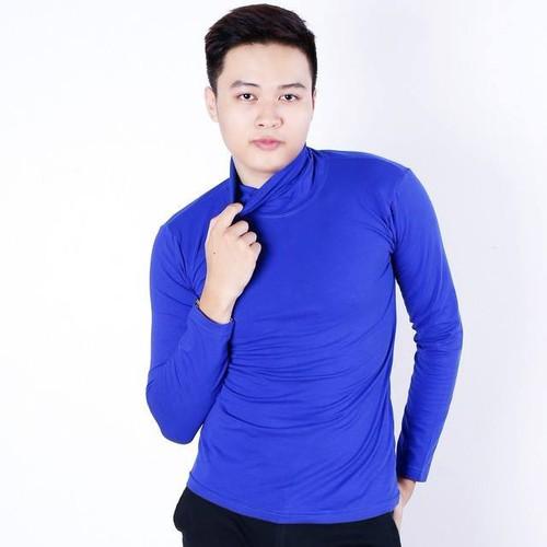 Áo thun cổ lọ tay dài nam màu xanh coban - XC01