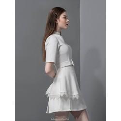 Set Áo Cổ Cao Lai Ren-Chân Váy Xẻ Phối Ren
