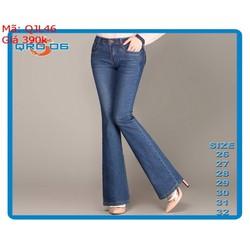Quần jean nữ quảng châu màu xanh ống loe hàng jean tốt QJL46