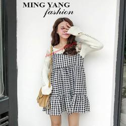 Đầm babydoll sọc caro fashion