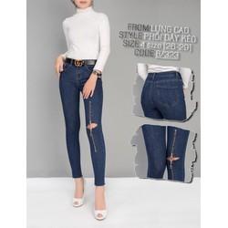 Quần jean lưng cao phối dây kéo giữa gối