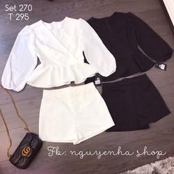 Set áo peplum tay voan + quần short