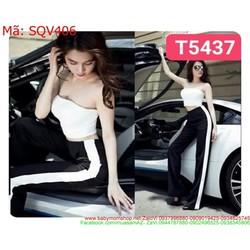Sét áo kiểu cúp ngực và quần ống suông phối viền SQV406
