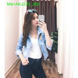 Áo khoác Jean nữ tay dài màu xanh bạc cá tính cực chất AKJ220