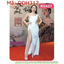 Đầm dự tiệc trắng 1 dây lệch vai sành điệu thời trang DDH317