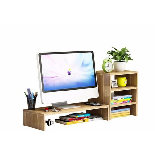 Kệ gỗ để màn hình 2 tầng, co ngăn tủ phụ bên cạnh