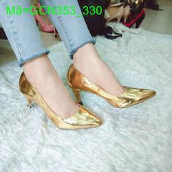 Giày cao gót nữ da bóng vàng kim thiết kế đơn giản sang trọng GCN353
