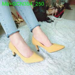 Giày cao gót nữ mũi nhọn vàng chanh xinh xắn duyên dáng GCN354