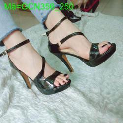 Giày cao gót nữ hở mũi da bóng thiết kế sang trọng GCN356