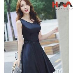 Đầm đen dạ tiệc đính nơ eo