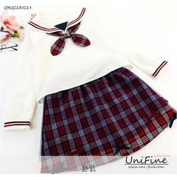 Set chân váy áo thủy thủ caro nơ đỏ - QHQZ180213