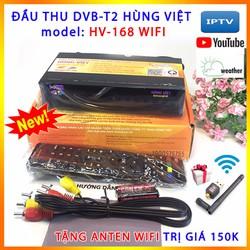 Đầu thu DVBT2 WIFI Hùng Việt HV168 Tặng Anten WIFI xem Youtube