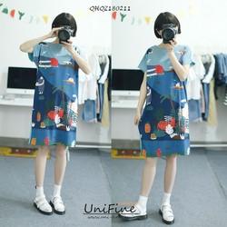Đầm suông in họa tiết dễ thương-QHQZ180211