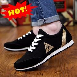 Giày sneaker cao cấp phối sọc vàng GLK122