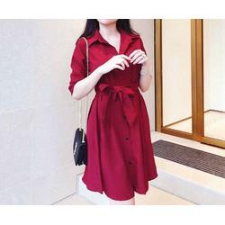 Đầm sơmi dài tay đỏ đô