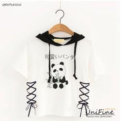 Áo hoodie nữ in hình gấu panda - QHWT180202
