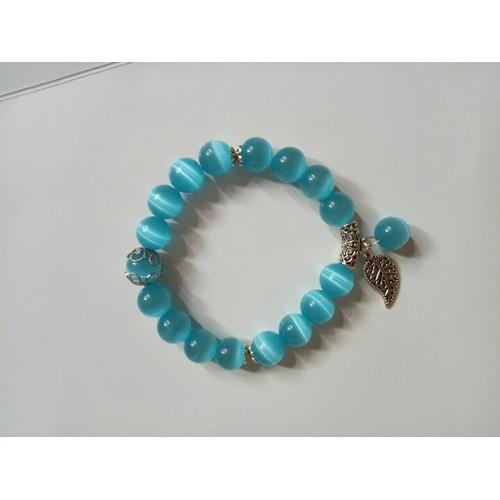 Vòng tay đá phong thủy mắt mèo xanh  dương