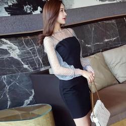 Đầm Ôm Tay dài Chấm Bi mẫu 2018 Rất Đẹp